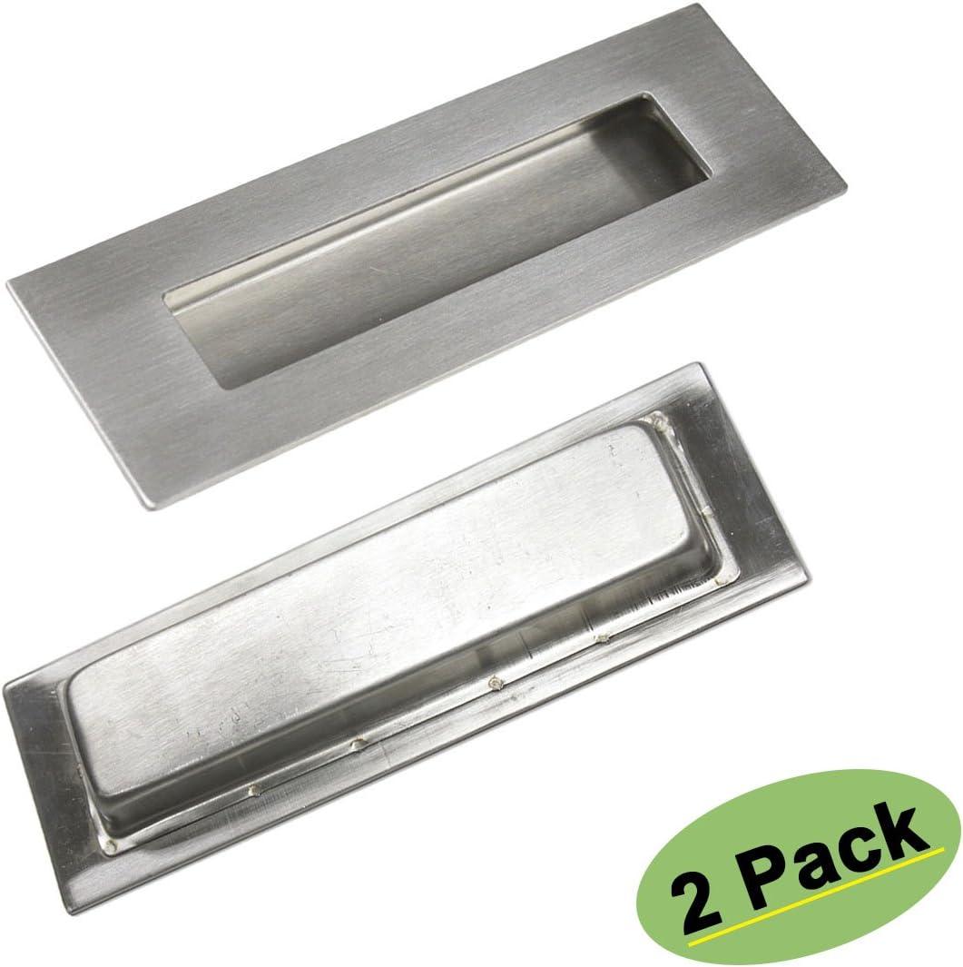 2 unidades Rectángulo homdiy pocketdoor cisterna empotrada Puerta Corredera tiradores 6 en x 2 en cepillado níquel cepillado latón: Amazon.es: Bricolaje y herramientas