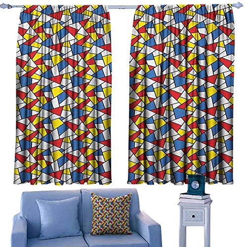 Mannwarehouse Mosaic Novel Curtains Geometric Shapes Composition with Colorful Stained Glass Design Grid Illustration Privacy Protection 63