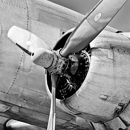 Historic Planes (Black and White Plane Propeller Picture Historic American Military Fighter Aviation Photo)