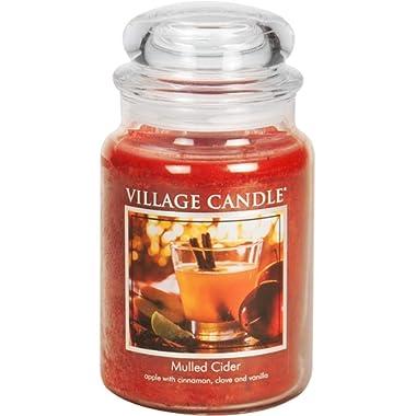 Village Candle Mulled Cider 26 oz Glass Jar Scented Candle, Large