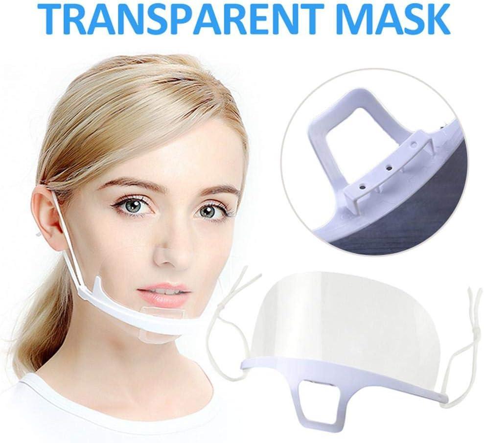Miraculocy Lot de 10 boucliers de protection jetables en plastique anti-bu/ée et /élastique pour le visage Transparent