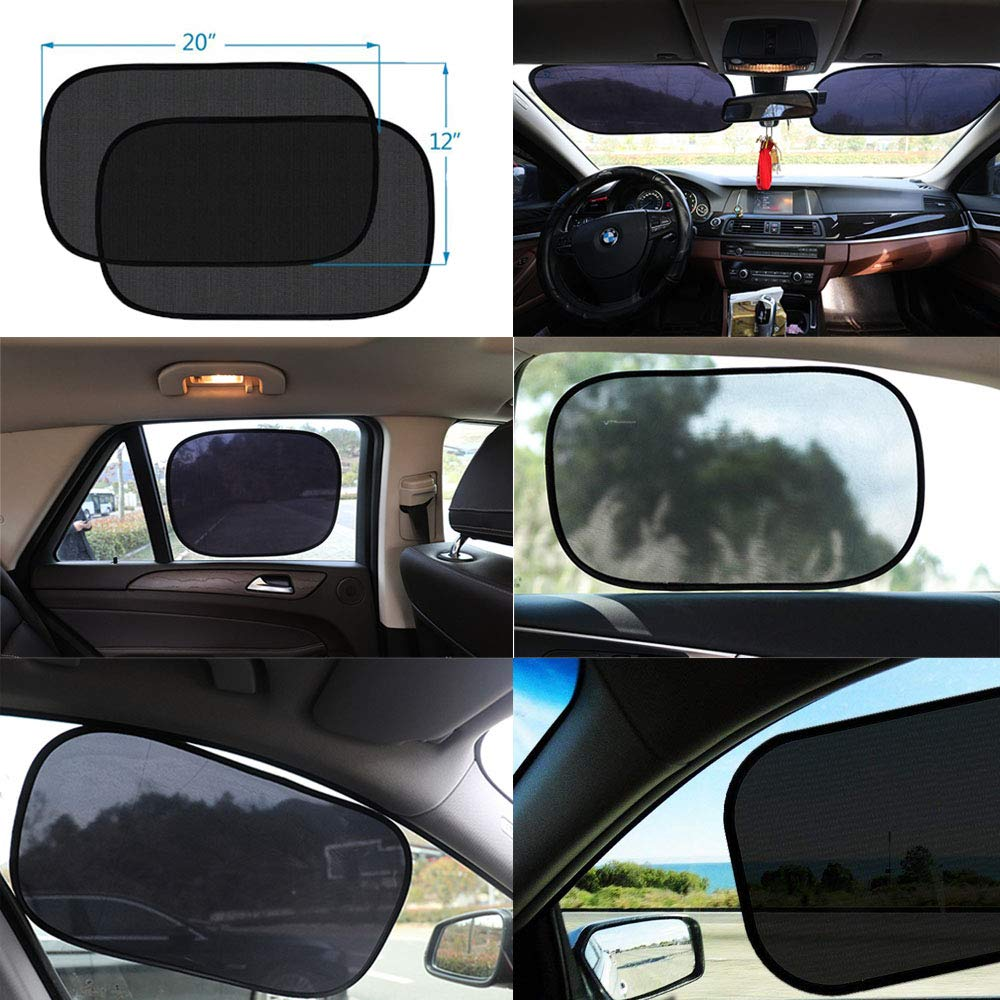 Polyester Mesh Car Window Shade ANKIA 4 Pack Car Side Windows Sunshade for Baby,Car Sun Shades Protector,80 GSM for Maximum UV//Sun//Glare Protection for Kids,2 Pack 20x12 and 2 Pack 17x14