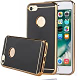 TabPow iPhone 7 Slim Case, Electroplate Glossy Finish, Drop Protection, Shiny Luxury Case For iPhone 7 (4.7 Inch) - Black Gold