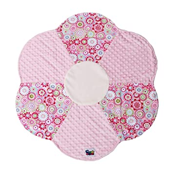 Small Minky Dot Plush 24 Round Flower Baby Security Blanket