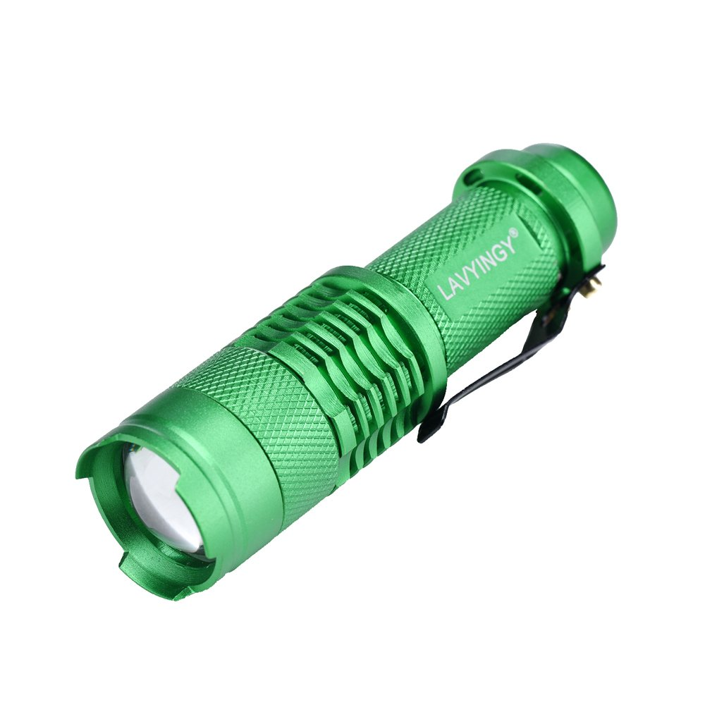 LAVYINGY Mini Waterproof Handheld LED Flashlight, Zoom Lens with Adjustable Focus - For Camping, Hiking, Hunting, Backpacking, Fishing and more - Green