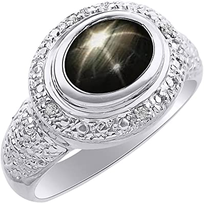 Diamond /& Black Star Sapphire Ring Set In Yellow Gold Plated Silver Birthstone