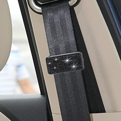 Car Seat Belt Adjuster, Bling Crystal Rhinestones Seatbelt Clips Auto Shoulder Neck Strap Positioner Locking Clip for Adults,Kids,Women & Short People (Black): Automotive