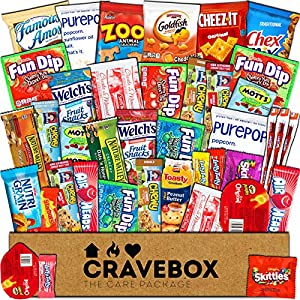 CraveBox - Care Package (40 Count) Snack Box - Variety Assortment Bundle of Snacks, Candy, Chips, Chocolate, Cookies, Granola Bars, for Students, Office, Midterms, Final Exams, Christmas, Holidays