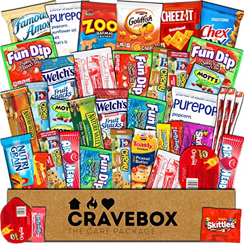 CraveBox - Care Package (40 Count) Snack Box - Variety Assortment with Chips, Cookies, and Candy - Gift Bundle with Sweet and Salty Treats for Lunches, College Students and Office (Road Trip Gift Box)