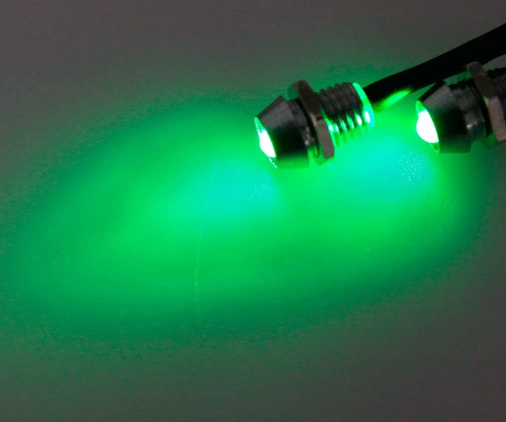 2x 6mm Car Panel Indicator Lamp Warning Light 12V Green LED Metal Truck Van