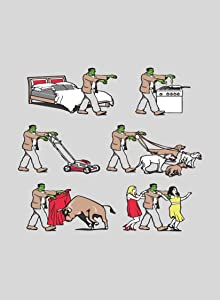 Image: Rectangle Refrigerator Magnet | Zombie Monster Daily Life Cooking, Walking Dogs, Mowing Lawn, Bullfighting, Dancing
