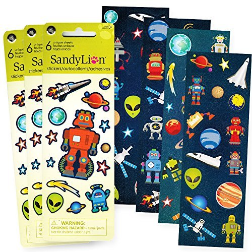 [Robots and Space Stickers Party Supplies Set -- Over 300 Stickers Total (18 Party Favor Sheets)] (Robot Sticker)