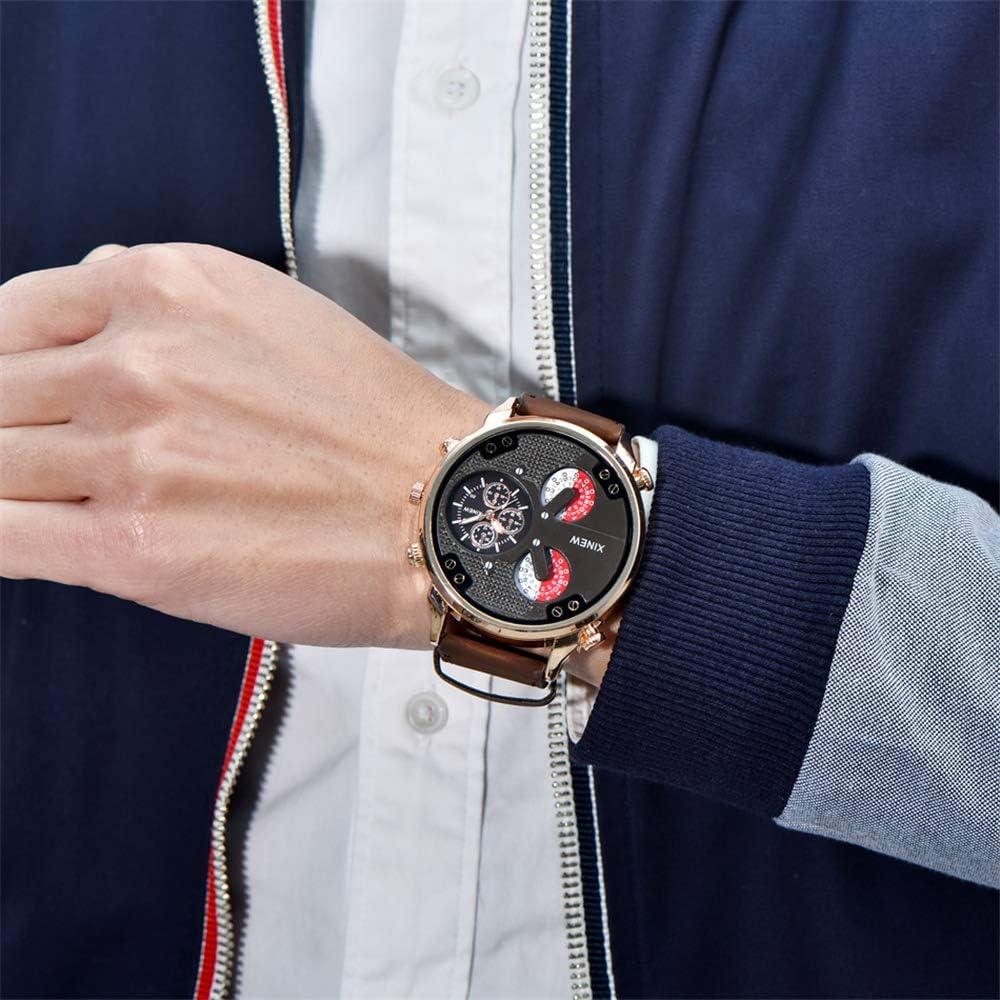 orologio da polso Orologi da uomo con cinturino in pelle Big Quartz Watch orologi sportivi da uomo Masculino Reloj Hombre Nero