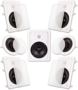 """Acoustic Audio by Goldwood Acoustic Audio HT-67 in Wall in Ceiling 1750 Watt 6.5"""" Home Theater 7 Speaker System, White"""