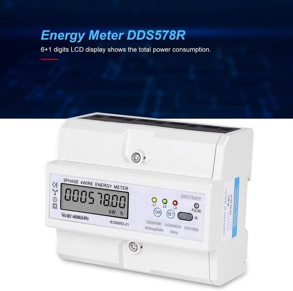 Multifunktion LCD Wattmeter Elektroz/ähler mit S//U Kabel Diagramm Digitaler Stromz/ähler Zweiphasig f/ür Hutschiene