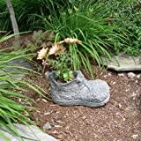Faux Marble Boot Planter - Great Garden Decor for Outdoor Gardens and Living Spaces