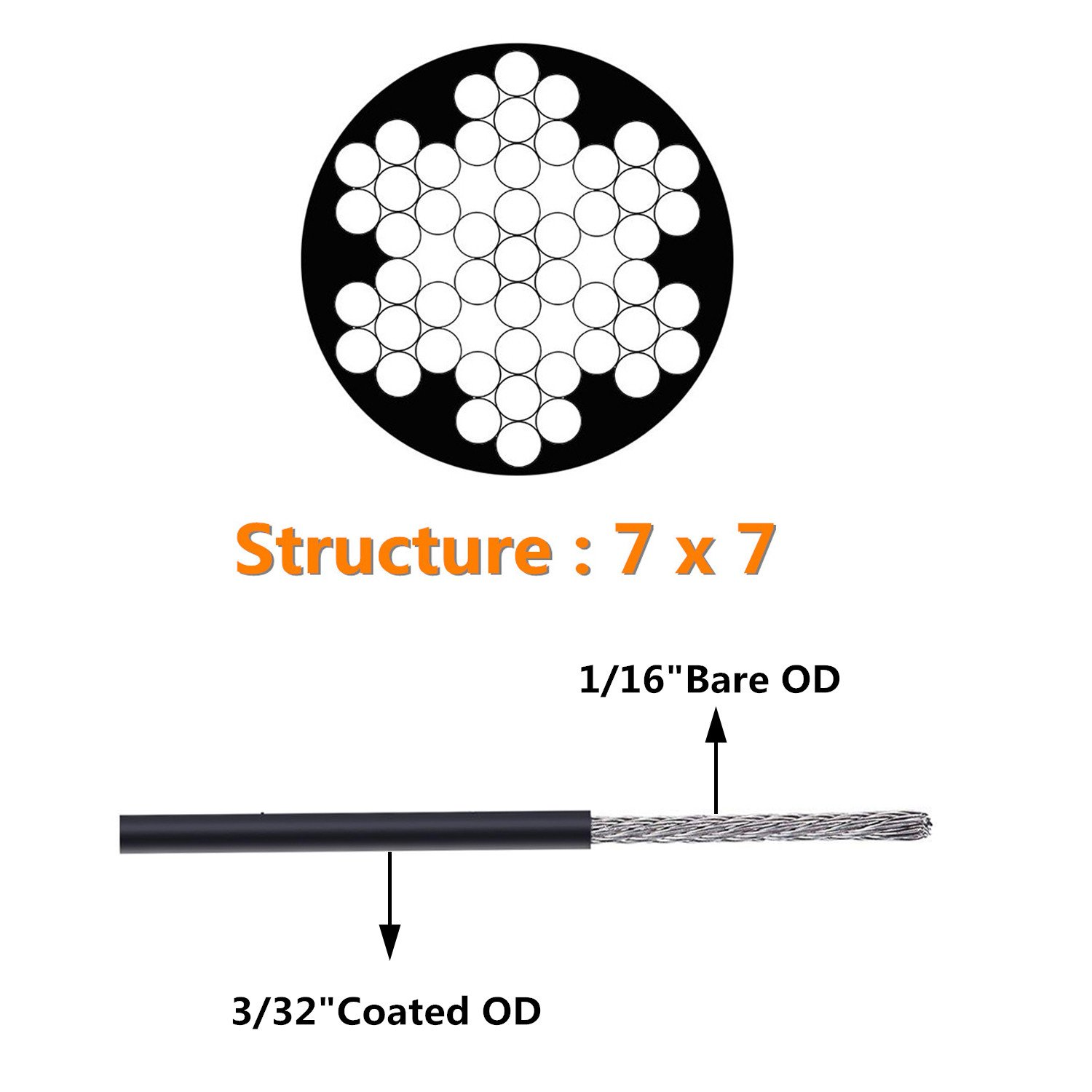 NITOO Stainless Steel 304 Black Wire Rope, Vinyl Coated, 7x7 Strand ...
