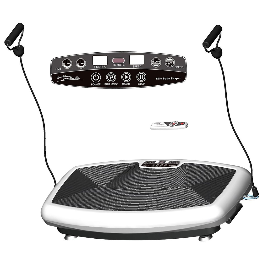 HEALTH LINE MASSAGE PRODUCTS 330LB Vibration Plate Workout Machine Vibration Platform Body Shape Vibration Exercise Machine with Two Bands and Remote