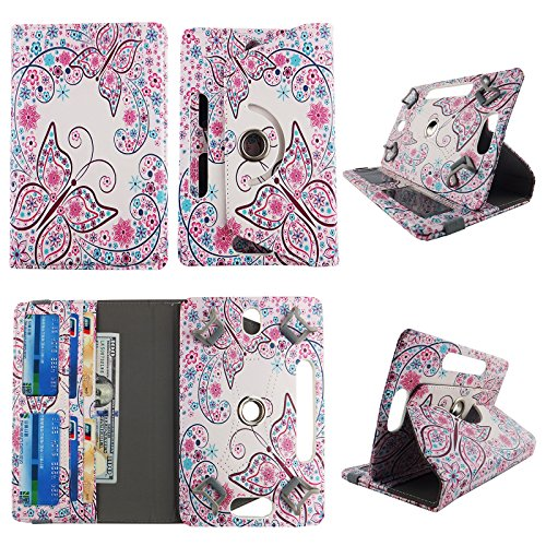 Flowery Butterfly White tablet case 7 inch Ellipsis 4g LTE android tablet cases 360 rotating slim folio stand protector pu leather cover travel e-reader cash slots (Case 7 Ellipsis Butterfly)