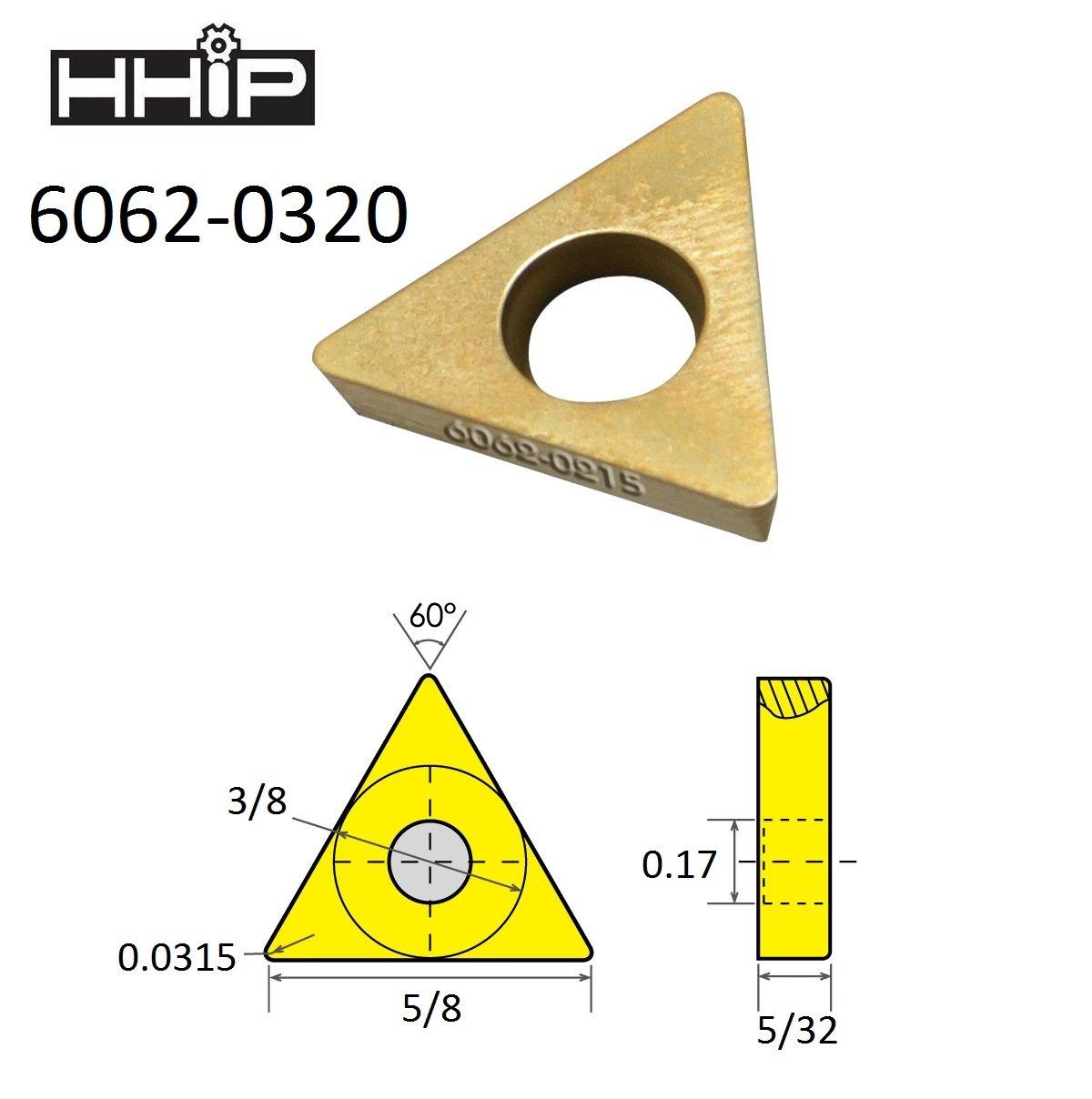 1//2 IC HHIP 6062-0430 TDEX 43 TiN Coated C-5 Carbide Insert