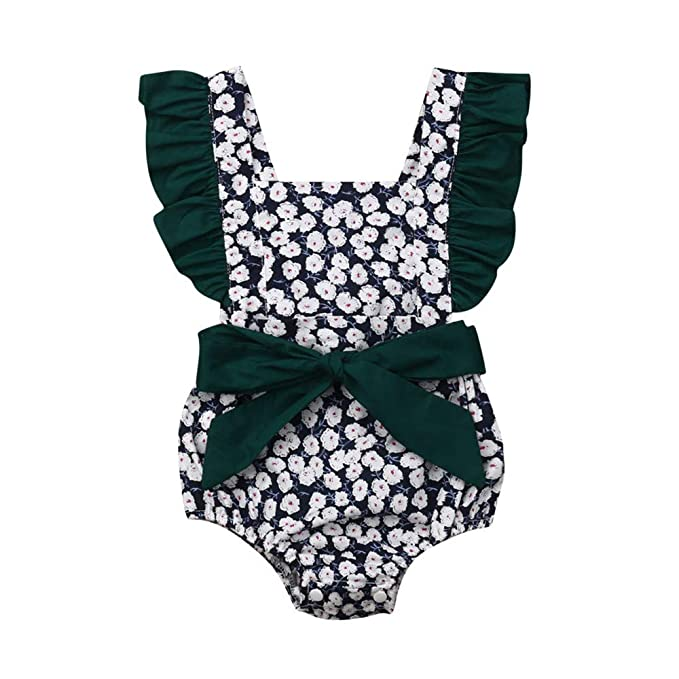 Wang-RX Infant Baby Girls Floral Bow Romper Jumpsuit Trajes ...