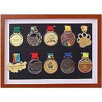J&X medaillenhouder, race bib medaillen-display vitrine met houten frame, medaillenframe voor of loopmedaille…