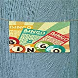 Super Absorbent Towel Bingo Game with Ball and Cards Pop Art Stylized Lottery Hobby Celebration Theme Ideal for Everyday use L39.4 x W9.8 inch