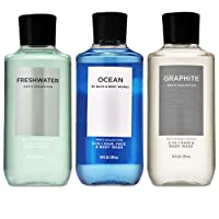 Bath and Body Works 3 Pack 2-in-1 Hair + Body Wash Freshwater, Graphite and Ocean...