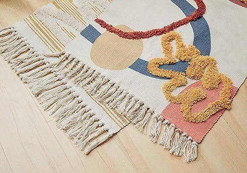 Wolala Home Morocco Tufted Cotton Colorful Shag Rug Hand Woven Printed Area Rug