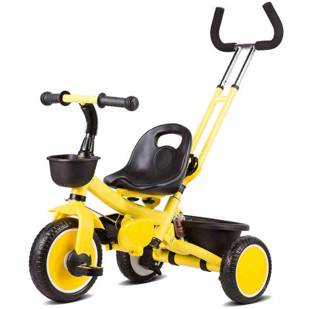 YANGFEI 子ども用自転車 リムーバブルな親と3人の子供の子供1人の子供trikeの三輪車は、ハンドルバーを押す 212歳 B07DWRL3L7 イエロー いえろ゜ イエロー いえろ゜