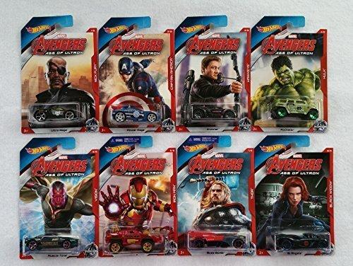 Bundle - 8 Items: Marvel Avengers Age of Ultron Hot Wheels Set