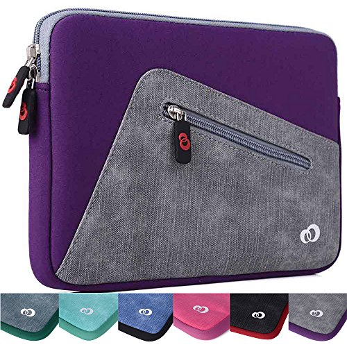 (Kroo Checkpoint Friendly Tablet Sleeve fits Samsung Galaxy Tab S2 9.7, Tab A 9.7, Tab E 9.6, A & S Pen, Tab Pro 10.1, Tab 3, 4, Note 10.1 Tablet, Chromebook 3 11.6 (Acai Purple/StoneGrey))