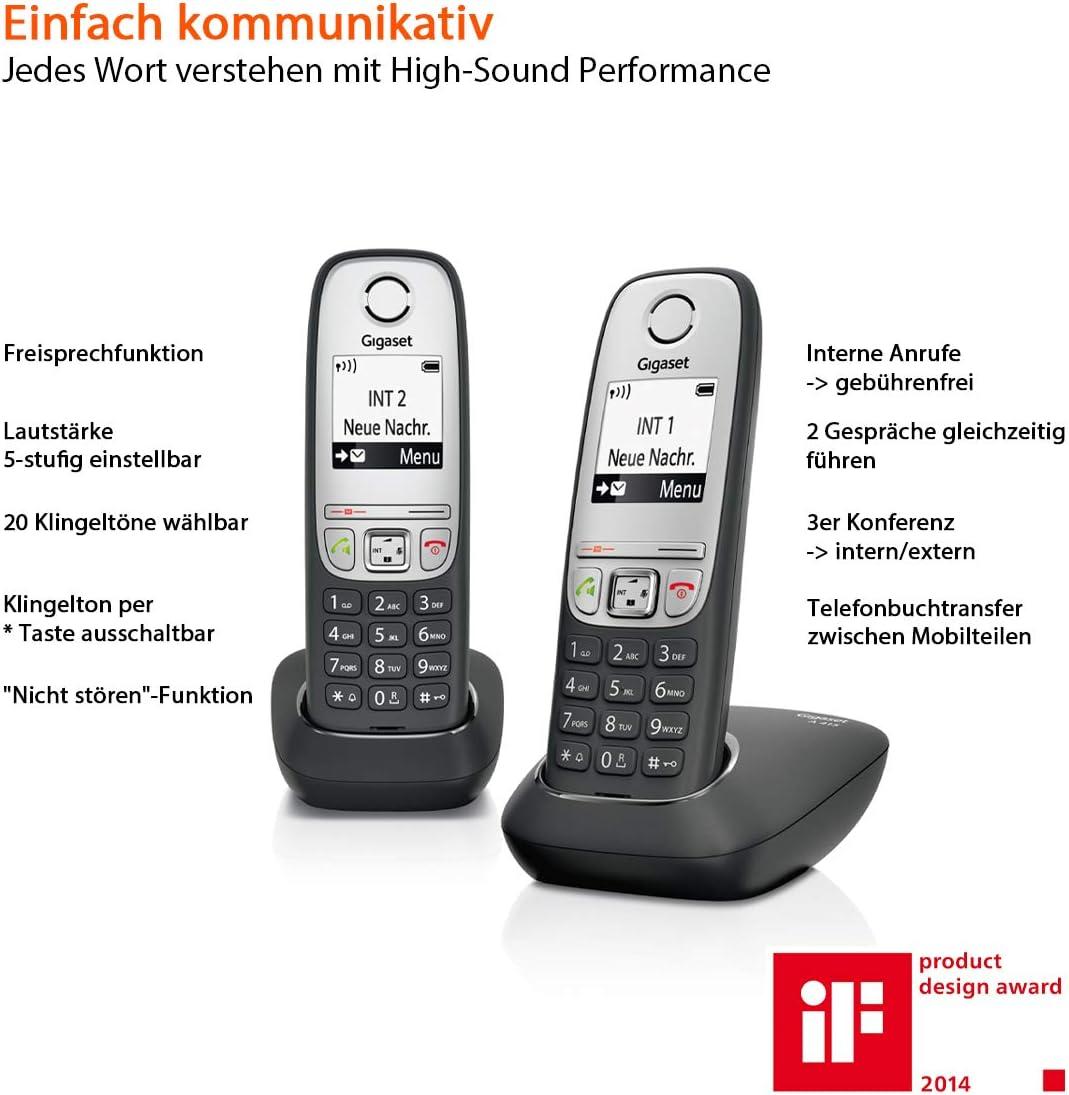 Gigaset A415A Duo - Teléfono inalámbrico (DECT, 50 m, 300 m, 100 entradas) Negro: Amazon.es: Electrónica