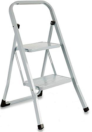Escalerilla, Escalera plegable Antideslizantes, Negro, Acero Inoxidable (2 Peldaños Blanco): Amazon.es: Bricolaje y herramientas