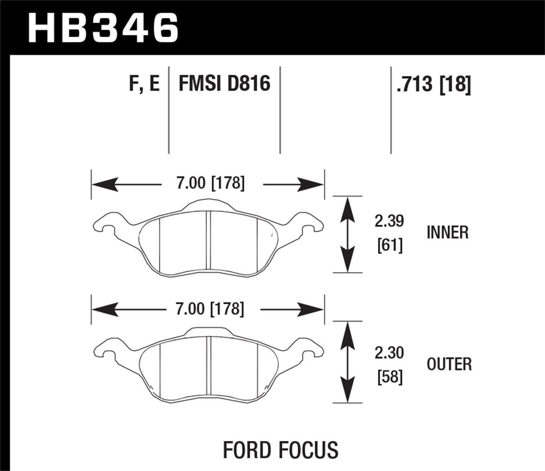 Hawk Performance HB346F.713 HPS Performance Ceramic Brake Pad