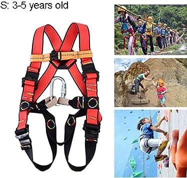 Arnés de Escalada para Niños Ajustable, Arneses de Seguridad Anticaídas Completo para Montañismo Alpinismo Expedición Escalada en Roca, Equipos ...