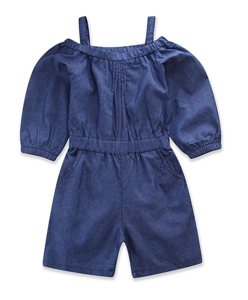 Pinleck Toddler Little Girls Cami Strap Denim Jumpsuit Summer Long Sleeve Overall Outfit by Pinleck (Image #1)