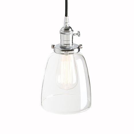 Pathson 14.3cm Lámpara colgante Iluminación colgante Vintage Industrial E27 Lámpara retro Techo Lámpara de techo de cristal para Cafe, Cocina, ...