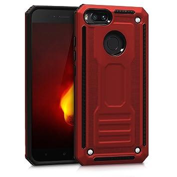 kwmobile Funda para Xiaomi Mi 5X / Mi A1 - Carcasa [híbrida] de [TPU] con diseño Carbonite en [Rojo/Negro]