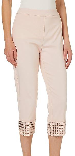 eb04d5c82922f Zac   Rachel Womens Solid Crochet Hem Pull On Pants 6 Pale Blush Pink