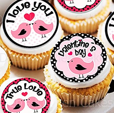 Valentine S Day Cake Toppers Edible Wafer 4cm X 24 Cute Love