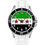 Syrie libre Drapeau Pays - Montre Unisex - Bracelet Silicone Blanc