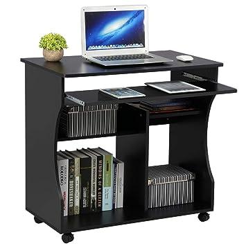 Scrivania Libreria Per Computer.Yaheetech Scrivania Computer Con Libreria Per Cameretta Studio Ufficio Potra Pc Mobile Con 4 Ruote Nera