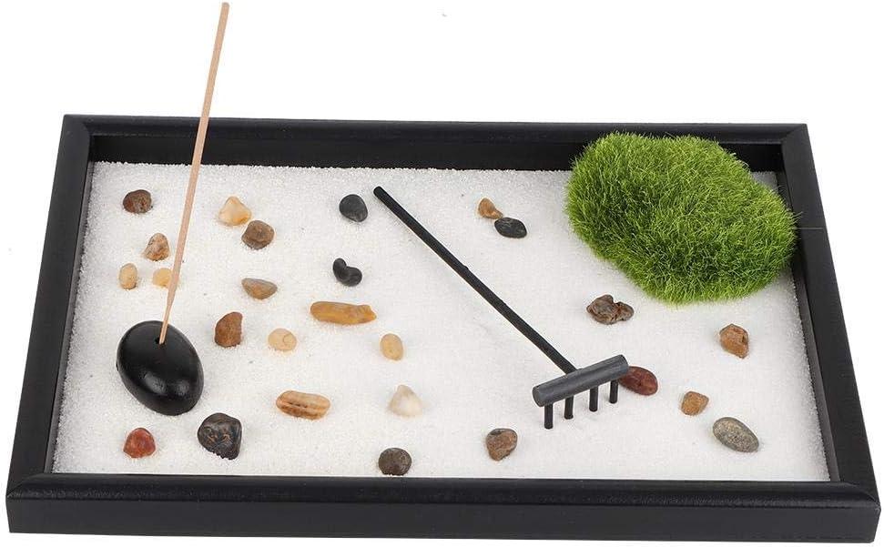 Hilitand Mini Mesa Estilo Zen Garden Japan Mini Zen Garden Sand Rock y rastrillo para la relajación y la meditación: Amazon.es: Hogar
