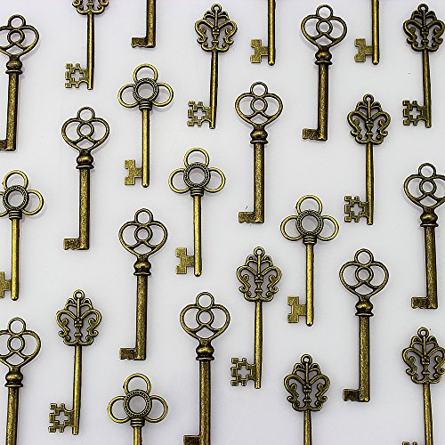 (LolliBeads (TM) Mixed Set of 30 Large Skeleton Keys in Antique Bronze - Set of 30)