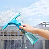 Caopixx Glass Wiper with Watering Can Window Wiper Soap Cleaner Home Shower Bathroom Mirror Car Blade (Blue)