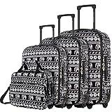 DAVIDJONES Vintage Print 4 Piece Luggage Set-Elephant Black