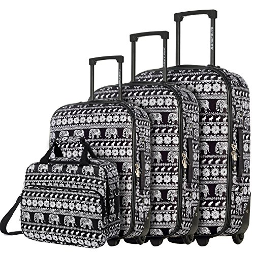 DAVIDJONES Womens Luggge Elephant Travel Luggage Kids for girls Set of 4...