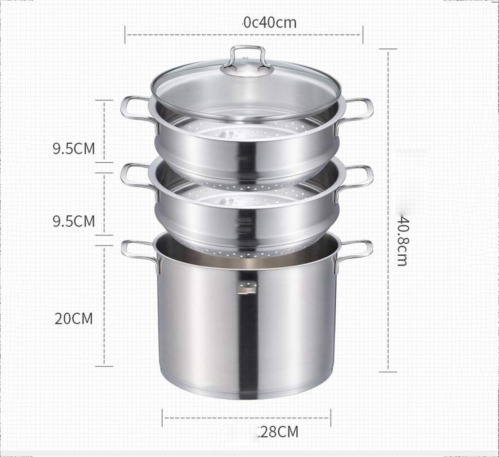 Steamer 304 Stainless Steel Three-Layer Thickened Household Steamer 2-3 Layer Steamed Steamed Fish Pot Induction Cooker Gas, with Glass Cover