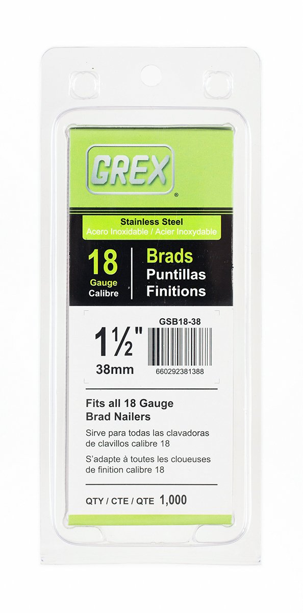 Grex Power Tools GSB18-38 18 Gauge Stainless steel 1-1/2'' Length Brad Nails (1,000per Pack)